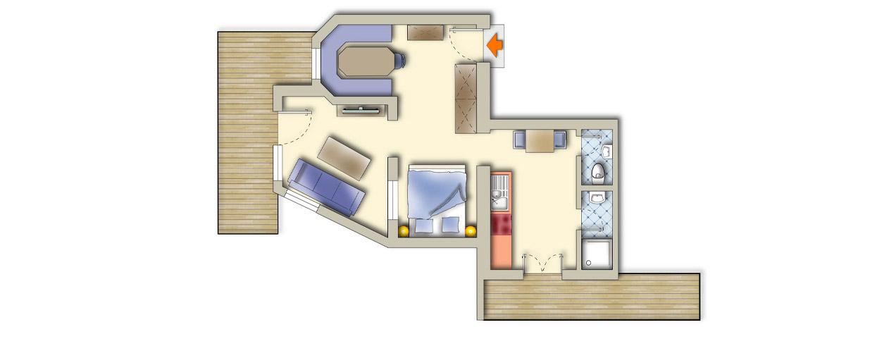 ferienwohnung tristner f r 2 3 personen in finkenberg. Black Bedroom Furniture Sets. Home Design Ideas